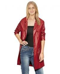 red lambskin leather coat with patch pockets