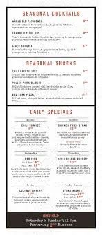 Brick House Tavern Tap Specials Menu