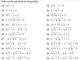 worksheet 15 solving radical inequalities geotwitter kids activities