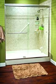 like green glass door white modern walk in shower with fresh light bathroom through the