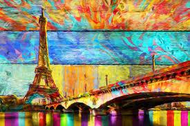 Abstract artwork pictures Palette Knife Eiffeltoren Abstract Art Van Marion Tenbergen Saatchi Art Eiffeltoren Abstract Art Van Marion Tenbergen Op Canvas Behang En Meer
