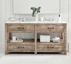 A rustic bathroom sink made of wood was one of those design elements that i'd been pinning to my boards, but had never actually seen in real life or for sale. Paulsen Reclaimed Wood Double Vanity Pottery Barn
