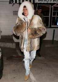 justin bieber s fur coat continues his head scratching year in style gq