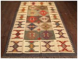 vintage multi wool jute tribal rug west elm kilim geometric steps tile mandarin