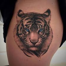 white tiger with blue eyes tattoo. Perfect Eyes Realistic Blue Tiger Eyes Tattoo On Side Thigh Intended White With