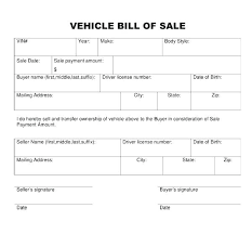Vehicle Bill Of Sale Templates Bill Of Sale Template Nc