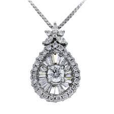 14k white gold teardrop diamond necklace