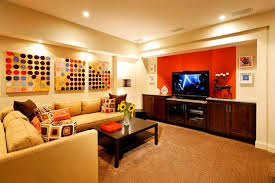 ... Cheerful Family Room with Orange and Cream Painting Color for Great  Basement ...