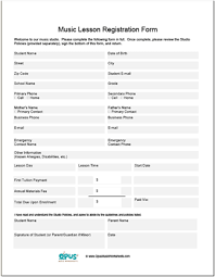 printable registration form template music lesson registration forms school pinterest registration