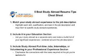Download the study abroad resume tips Cheatsheet now and come