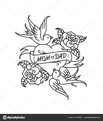 татуировка надписью Mom сердце цветок тату цветком татуировки стиле
