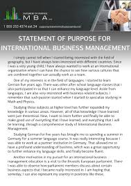 Mba Statement Of Purpose For International Business Management