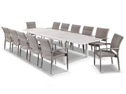 hague extension table with lucerne chairs 13pc outdoor setting