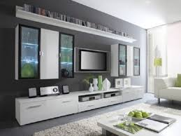 Television Tables Living Room Furniture Floating Tv Shelf Stunning Flat Tv On The Gray Wall Ideas Living