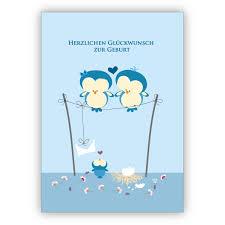 Hellblau Babykarte Mit Eulen Eltern Und Baby Zur Geburt Herzlichen