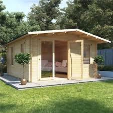 outdoor office shed. Image Is Loading 4x5-Overhang-Apex-Wooden-Log-Cabin-Garden-Summer- Outdoor Office Shed O