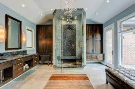 contemporary master bathroom with center rain shower limestone flooring