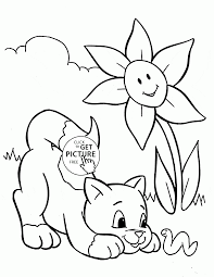 Funny Cat And Spring Coloring Page For Kids Seasons Coloring Pages