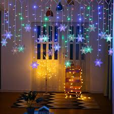 Curtain Led Lights Uk Details About Christmas Led Curtain String Window Snowflake Fairy Lights Holiday Waterproof Uk