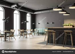 Industrial Style Bar Corner Dark Gray Walls Concrete Floor