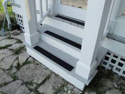 black rubber stair tread anti slip cover installation for outdoor entrance stair