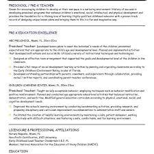 Assistant Resume Sample Preschool Teacher Resume Objective Preschool  Teacher Resume