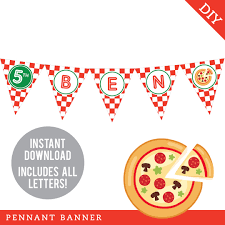 pizza party banner clipart. Pizza Party Pennant Banner INSTANT DOWNLOAD Adorable DIY Decoration For Birthday Intended Clipart