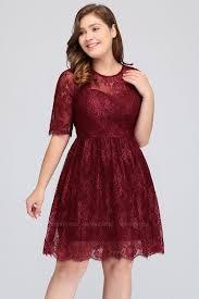 Plus Size Bridesmaid Designers Plus Size Jewel Short Sleeves Burgundy Bridesmaid Dress