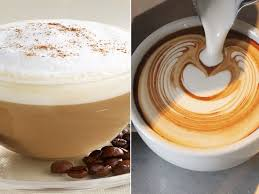 photo a cappuccino left is pictured along with a flat white right