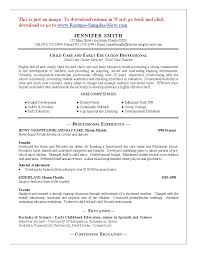 Child Care Resume Sample Childcare Resume Jennifer Smith Writing