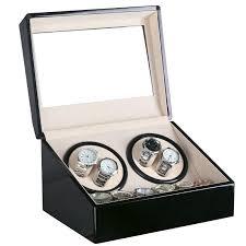 whole global plug use black wood surface watch winder box inner velvet automatic rotation 4 6 watch winder storage case display box watch winder box
