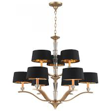 gatsby collection 9 light matte gold finish with black drum shade chandelier 34 d x