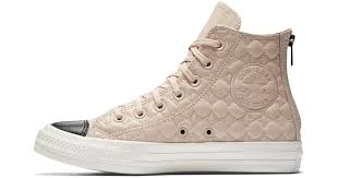 lyst converse chuck taylor all star back zip leather high top women s shoe in pink