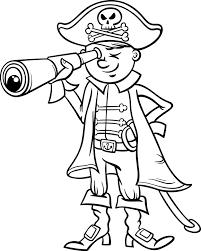 Piraat Jongen Cartoon Kleurplaat Vector Premium Download