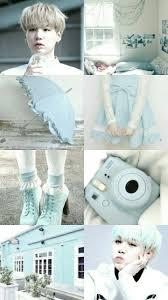 Light Blue Bts Bts Yoongi Light Blue Aesthetic Wallpaper Bts Wallpaper