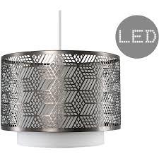 white chrome geometric ceiling pendant light shade 4w led filament bulb 2700k warm white