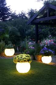 ideas for garden lighting. Garden With Solar Planter Lights : Warm And Decorative Lighting Ideas For I