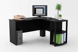 modern corner office desk. Black Wood L Shaped Corner Office Desk With Storage Shelf Modern