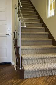Carpet To Hardwood Stairs Patterned Carpet With Recessed Lighting
