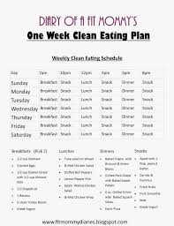 Diary Of A Fit Mommys One Week Clean Eating Plan Healthy
