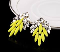 neon candy yellow color crystal stud earrings