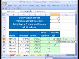 Tracking Employee Time Off Excel Template Excel Magic Trick 202 Calculate Vacation Days Youtube