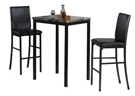 simple black bar table and chair with black wooden framed counter height chairs and 3pc bistro