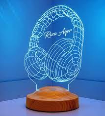 Müzisyen Hediyesi Kişiye Özel 3d Kulaklık Led Lamba