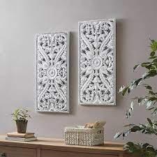 luxury 2pc white botanical wood panel