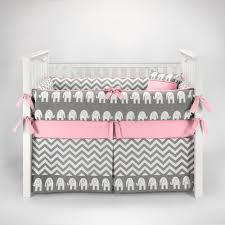 pink and grey elephant nursery chevron zig zag baby crib bedding set