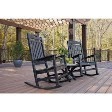 trex outdoor furniture yacht club charcoal black 3 piece patio rocker set