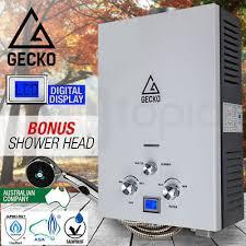 gecko gas hot water heater portable shower camping lpg outdoor instant caravan