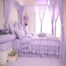 purple polka dot girls lace ruffle bowtie cotton duvet cover bedding