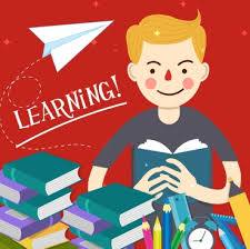 knowledge conceptual background studying boy books cartoon design